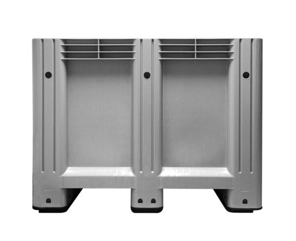 kratonline 1200 x 1000 x 760 mm palletbox grijs voorkant
