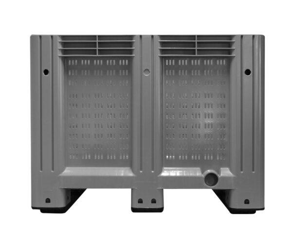 kratonline 1200x1000x760 palletbox grijs geperforeerd voorkant