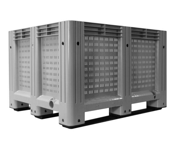 kratonline 1200x1000x760 palletbox grijs geperforeerd voorkant zijkant